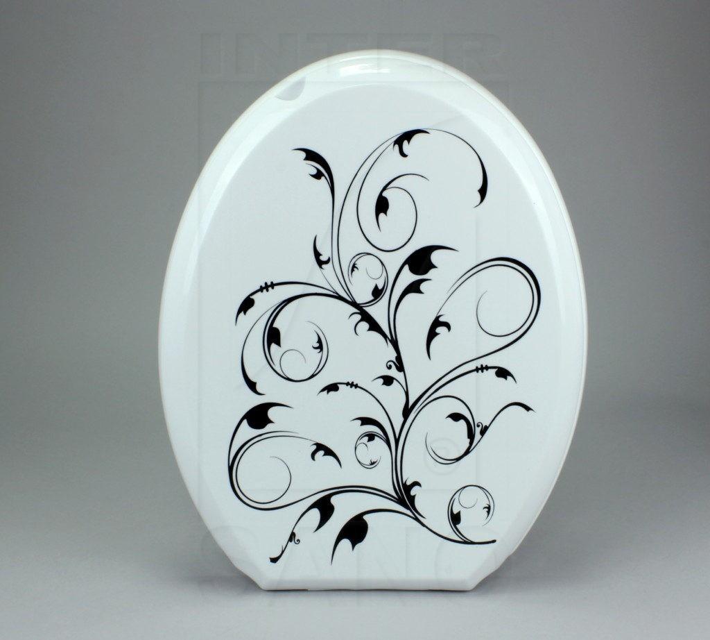 Deska sed. VENUS biała, czarny bluszcz II