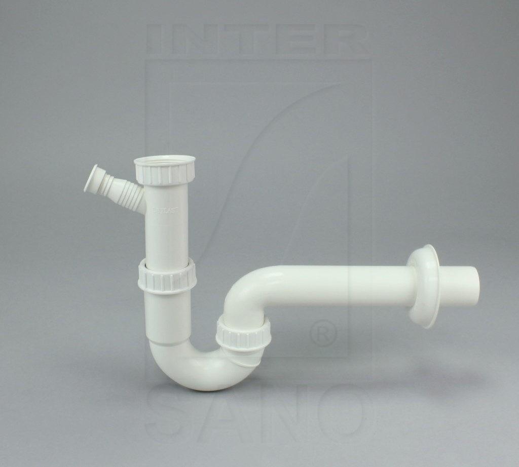 Półsyfon zlewu rurowy biały + pralka/zmywarka