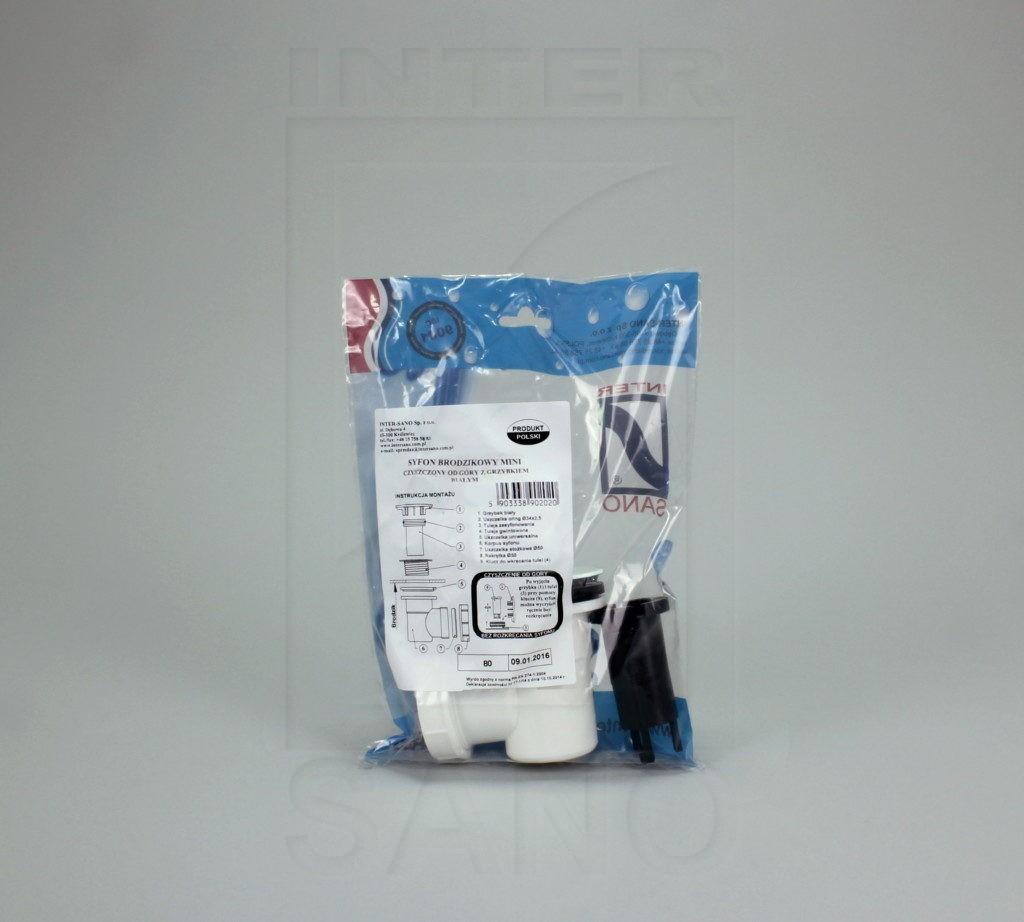 Syfon brodzikowy mini  czyszczony od góry z grzybkiem białym (B13)