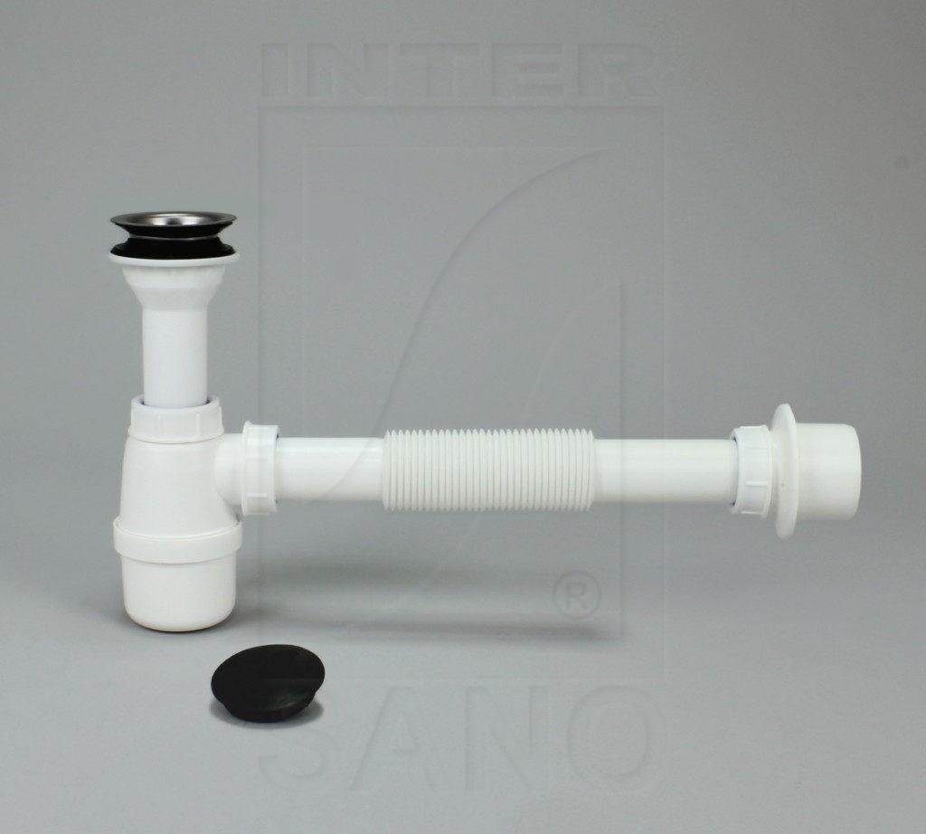 Syfon umywalkowy z sitkiem metalowym fi 32 z redukcją, rura harmonijkowa 300mm (U5)