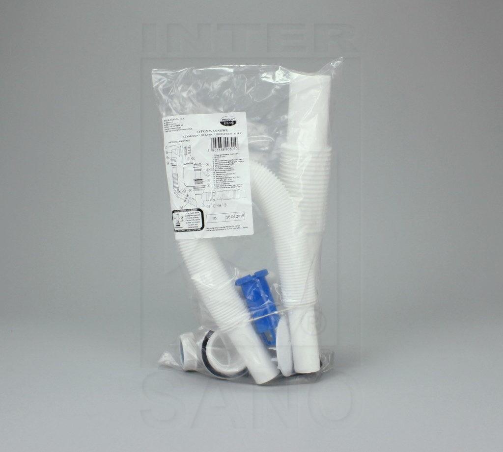 Syfon wannowy czyszczony od góry z przelewem (biały)