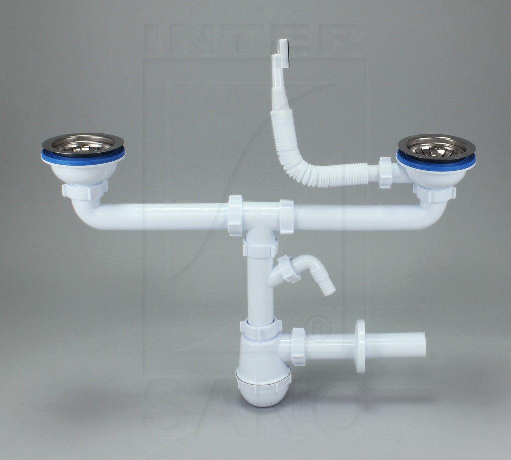 Syfon zlew butelkowy podwójny fi 115 mm z wyjściem do pralki/zmy z przelewem prostkątnym