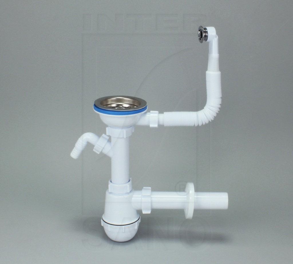 Syfon zlew butelkowy pojedynczy fi 115 mm z wyjściem do pralki/zmy z przelewem prostokątnym
