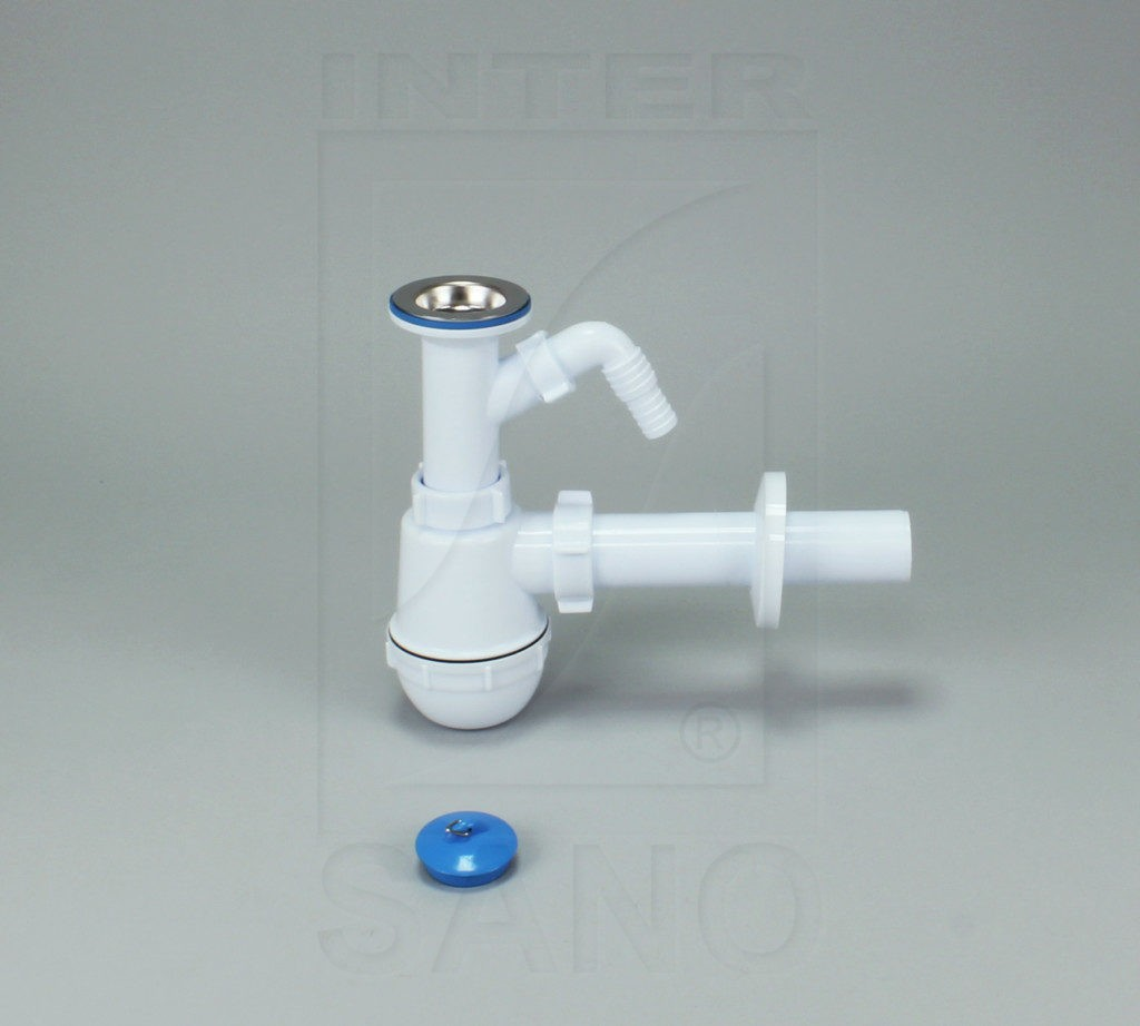 Syfon zlew butelkowy pojedynczy SM fi 70 mm z wyściem do pralki/zmywarki