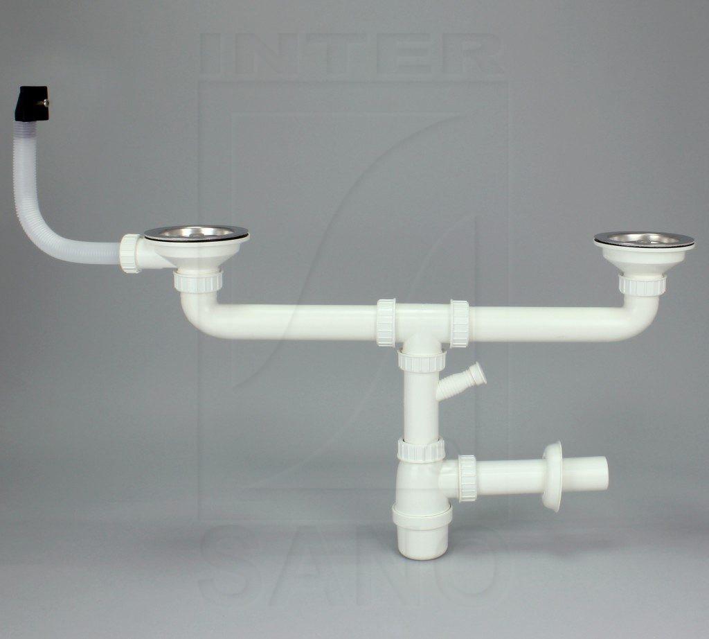 Syfon zlew butelkowy podwójny fi 115 mm SM z przelew prostokątnym do pralki/zmywarki