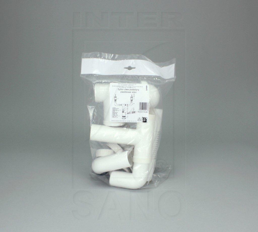 Syfon zlew podwójny sitko plastikowe