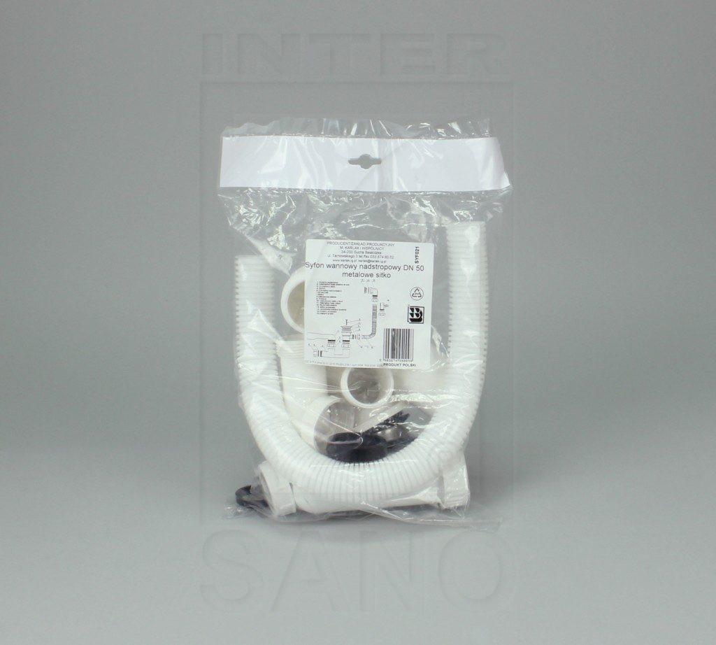 Syfon wannowy nadstropowy sitko metalowe