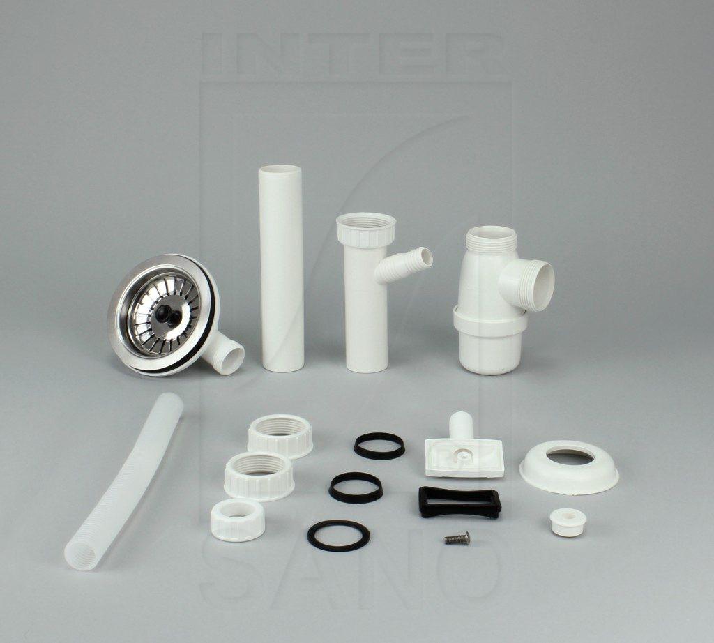 Syfon zlew butelkowy pojedynczy fi 115 mm SM z przelew prostokątnym do pralki/zmywarki