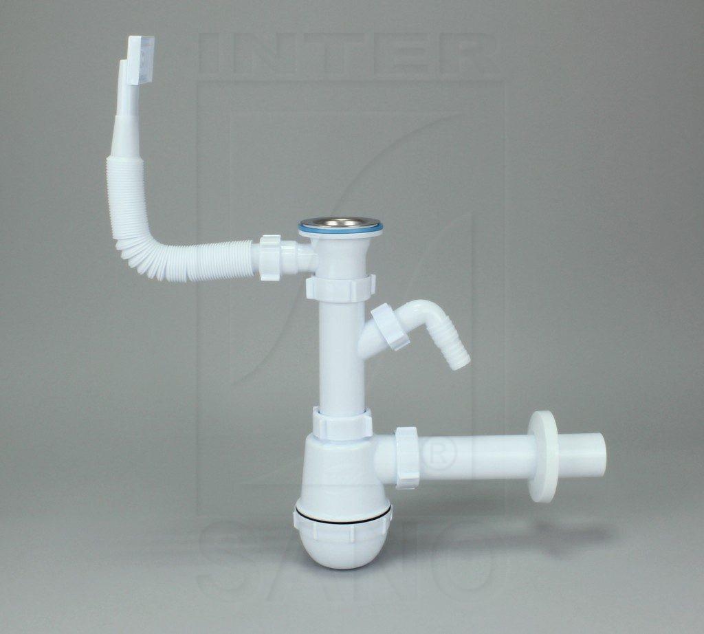 Syfon zlew butelkowy pojedynczy z SM fi 70 mm z wyjściem do pralki/zmy i przelewem prostokątnym 1233
